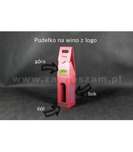 Kartonik do wina z logo, czerwone