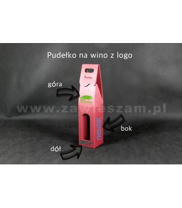 Kartonik na wino z logo, czerwone
