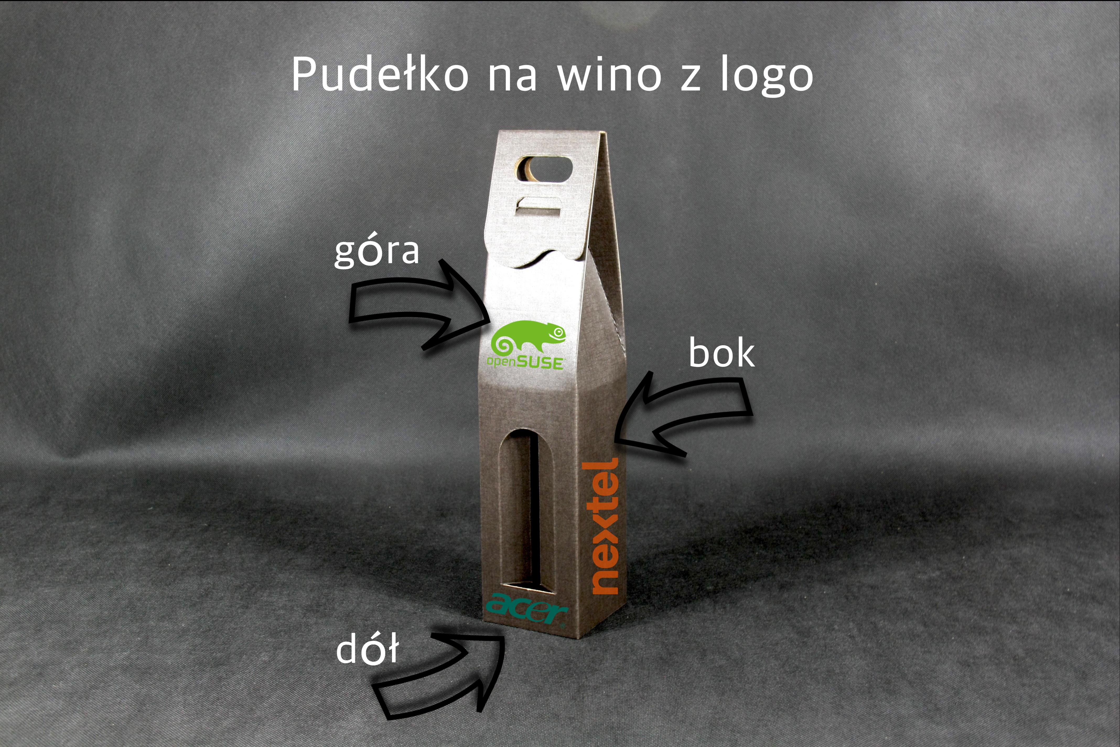 kartonik na wino z logo
