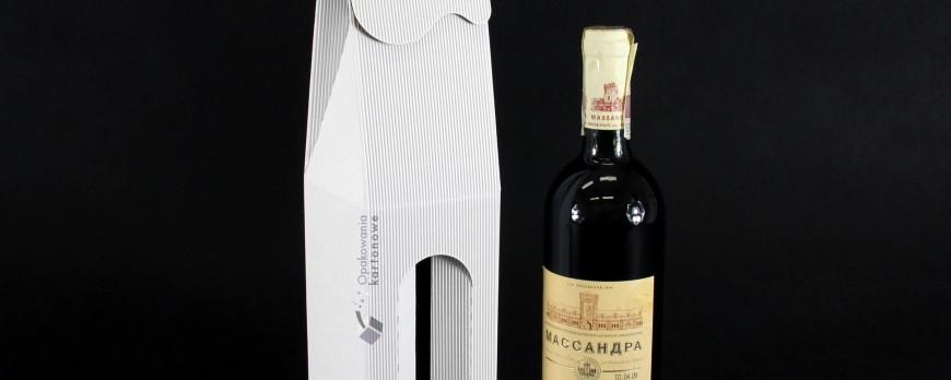 Pudełko kartonowe na wino z okienkiem w kolorze białym
