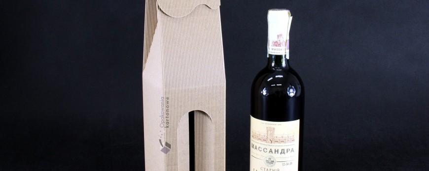 Pudełko kartonowe na wino z okienkiem w kolorze szarym